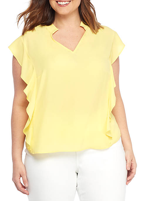 THE LIMITED Plus Size Deep V Ruffle Blouse