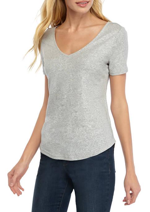 Petite Short Sleeve V Neck T-Shirt