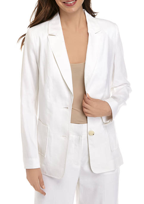 THE LIMITED Petite Linen One Button Blazer