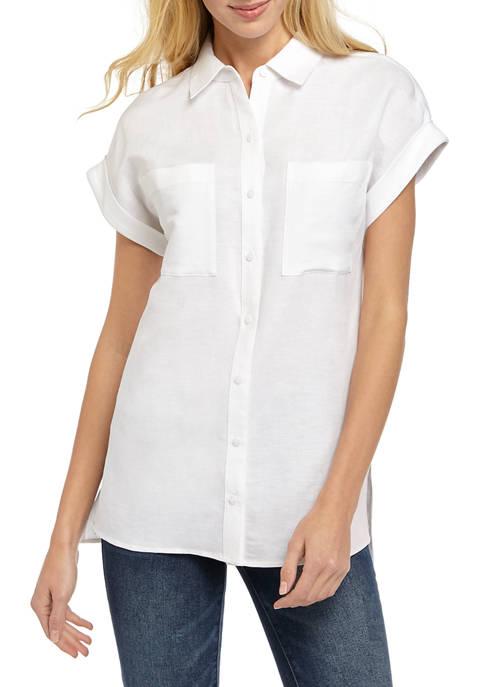 Petite Short Sleeve Linen Button Front Top