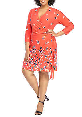 3ee7d362e14 THE LIMITED Plus Size Elbow Sleeve Wrap Dress ...