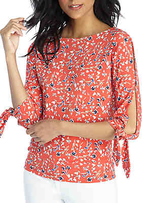 21dfa1bbf8b6d8 THE LIMITED Petite Printed Banded Bottom Top ...