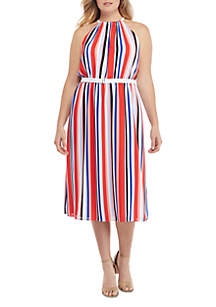 THE LIMITED Plus Size Sleeveless Halter Dress with Belt