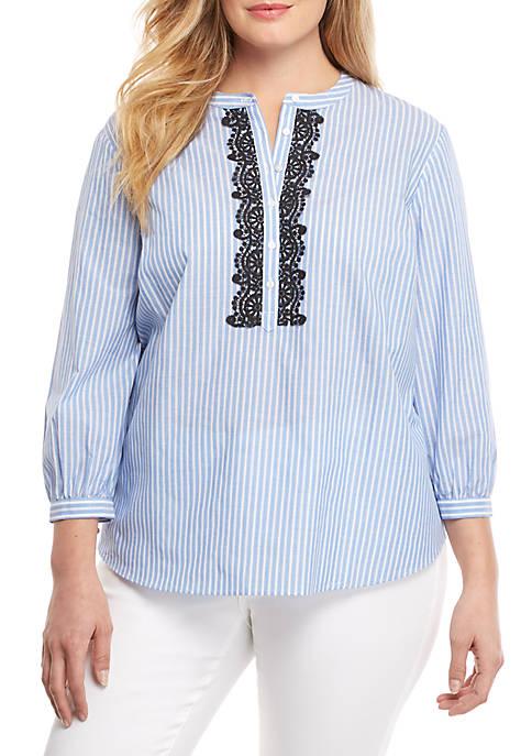 Plus Size Stripe Peasant Shirt