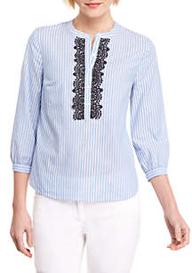 THE LIMITED Stripe Peasant Shirt