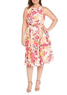 Plus Size Halter Belted Floral Dress