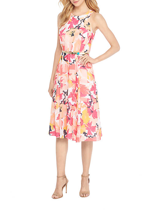 THE LIMITED Petite Halter Belted Floral Dress