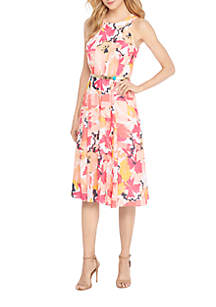 Halter Belted Floral Dress