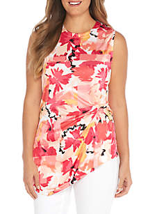 Plus Size Sleeveless Ruch Knot Top