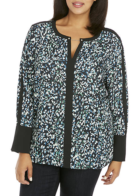 Plus Size Contrast Bell Sleeve Blouse With Metal Trim