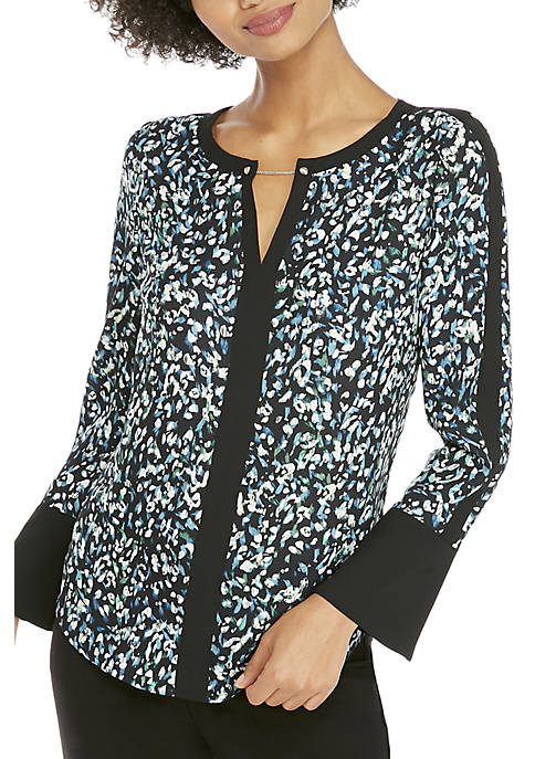 Contrast Bell Sleeve With Metal Trim Blouse