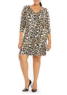 Plus Size Cowl Neck Three-Quarter Sleeve Dress