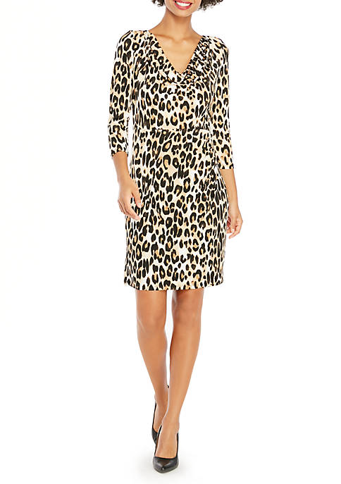 Cowl Neck Three-Quarter Sleeve Dress