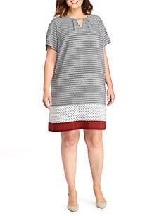 Plus Size Printed Keyhole Dress