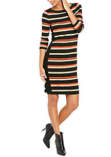 Three-Quarter Stripe Rib Dress