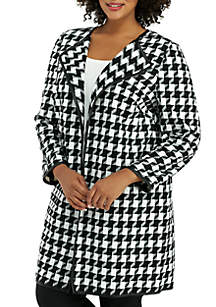 Plus Size Pleather Trim Houndstooth Jacket