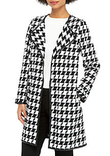Pleather Trim Houndstooth Jacket