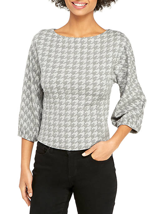 Petite Boat Neck Puff Sleeve Top