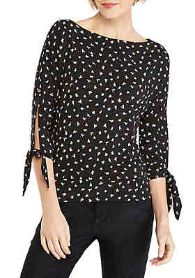 4711cd52f3ebea THE LIMITED Printed Banded Bottom Knit Top ...