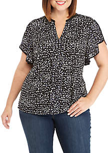 THE LIMITED Plus Size Flutter Sleeve Top with Center Placket