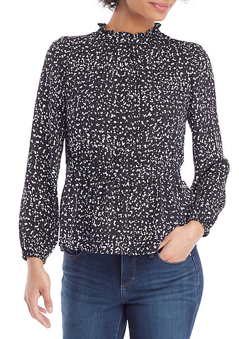 Petite Ruffle Neck Fitted Woven Blouse