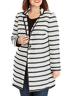 Plus Size One Button Tweed Stripe Coat