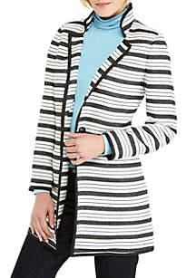 Petite One Button Tweed Stripe Coat