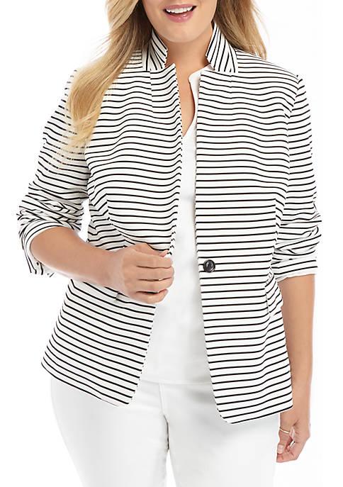 Plus Size Striped One Button Blazer