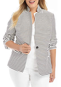 THE LIMITED Plus Size Striped One Button Blazer