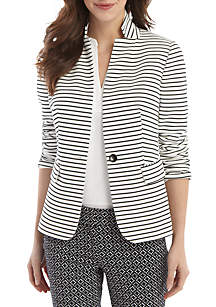 THE LIMITED Petite Striped One Button Blazer