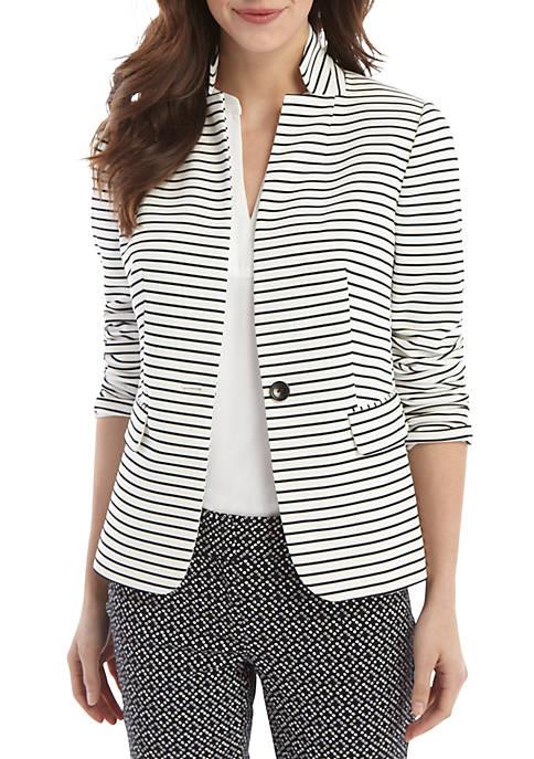 Striped One Button Blazer