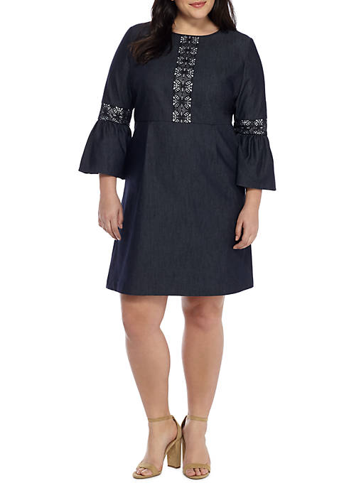 THE LIMITED Plus Size Denim Lace Bell Sleeve