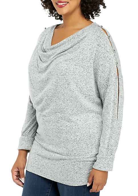 Plus Size Cozy Puff Sleeve Pullover