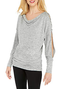 Petite Cozy Puff Sleeve Pullover