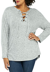 Plus Size Cozy Pullover with Lace-Up Front