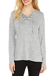 Petite Cozy Pullover with Lace Up Front