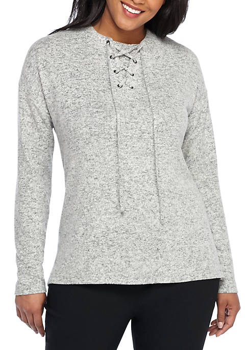 THE LIMITED Plus Size Lace-Up Cozy Pullover