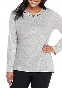 Plus Size Embellished Neck Long Sleeve Tunic Top