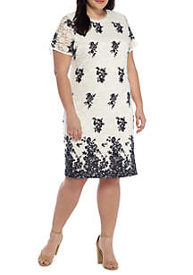Plus Size Embroidery Lace Dress