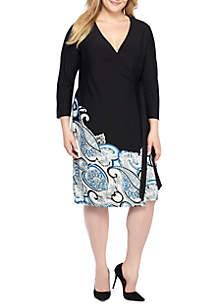 Plus Size Printed Wrap Dress