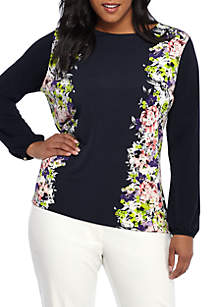 Plus Size Printed Boat Neck Tie Back Blouse