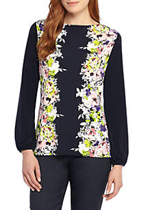Printed Boat Neck Tie Back Blouse