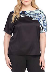 Plus Size Paisley Flutter Sleeve Blouse