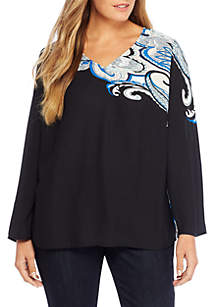 Plus Size Paisley Bell Sleeve Blouse