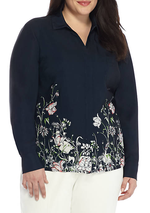 THE LIMITED Plus Size Pocket Border Blouse