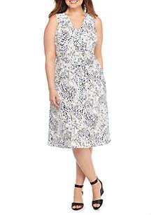 Plus Size Ruffle Sleeveless Dress