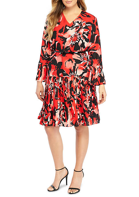 THE LIMITED Plus Size Printed Bell Sleeve Pleated