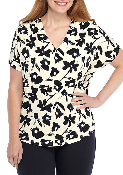 THE LIMITED Plus Size Print V-Neck Knit Top