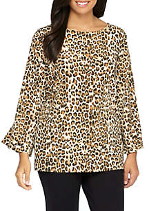 Plus Size Knit Flare Sleeve Printed Top