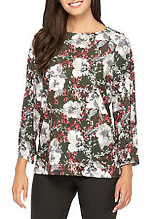 Knit Flare Sleeve Printed Top